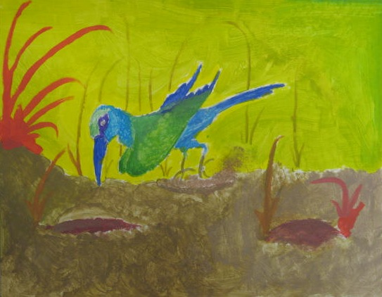 Seventh Graders Used Warm And Cool Color Schemes To Separate Their Chosen Animals From Habitats