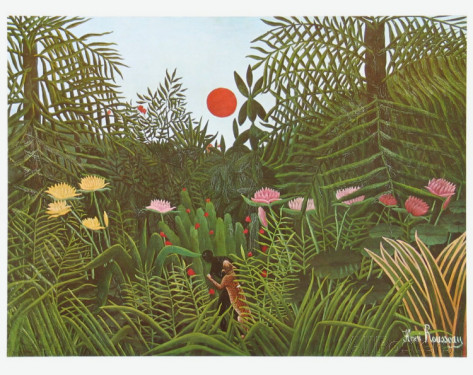 henri-rousseau-virgin-forest-with-sunset-c-1909